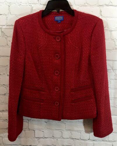 PENDLETON Women's 10 RED TWEED VELVET TRIM BLAZER… - image 1