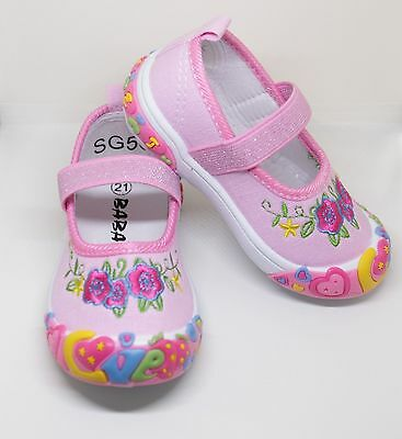 Chicas de Lona Zapatos Ligh Rosa Zapatillas Entrenadores Vivero Size UK 3 -7/21-24 euros
