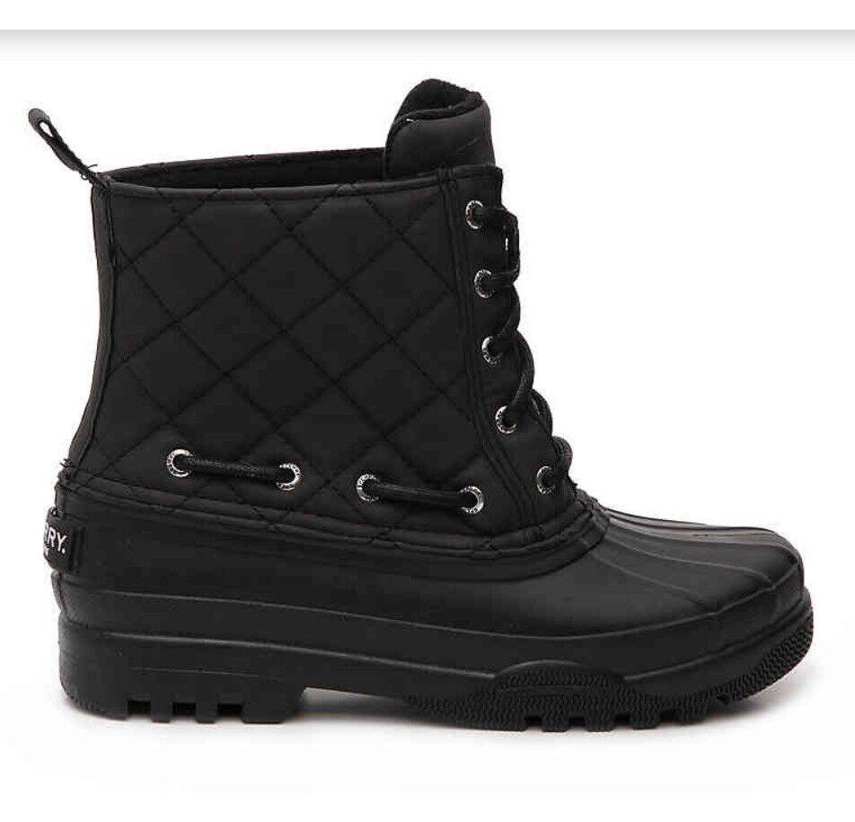 Nuevo Sperry Top-siders Pato botas de Lluvia Lluvia Lluvia para mujeres de ansarón Acolchado Negro Tamaño 8 botas  buena calidad