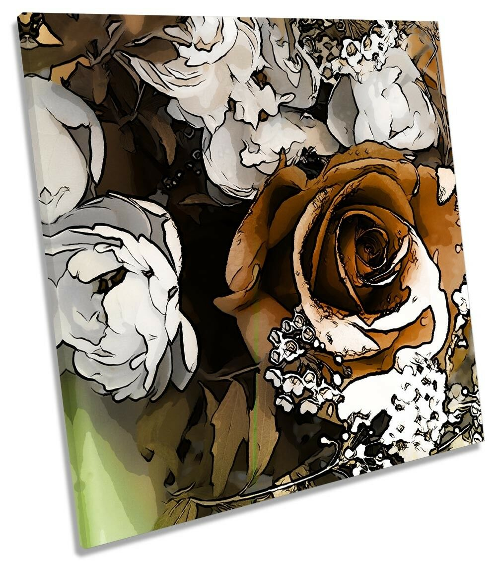 Abstract Floral Floral Floral braun Rosa Weiß CANVAS WALL ARTWORK Square Art Print f1112a