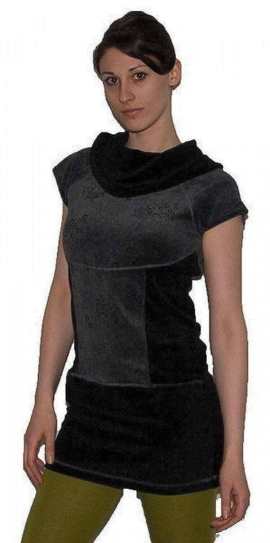 Boho Oberteil aus Samt Tunika Minikleid Longshirt mit Rollkragen Schwarz   Grau