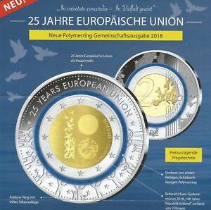 2 Euro Münze Mit Blauem Polymer Ring 100 Jahre Republik 25 Jahre