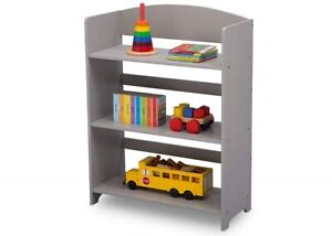 Details About Small Kids Bookshelf Short Wooden Compact 3 Shelf Tier Grey Open Bookcase New