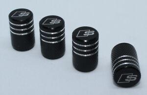 4x-Valve-Cap-for-AUDI-Aluminium-Dust-Caps-for-S-Line-Brand-New-Black-Check