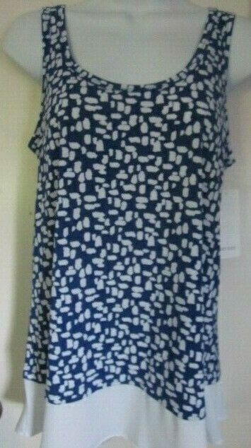 Women's Karen Kane Optic Bloom bluee   White Sleeveless BlouseSz. XSNWTS