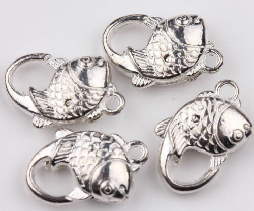 5//10Pcs Tibet Silver Fish Shaped Lobster Clasp Hook Pendant Charms Craft 20*14mm
