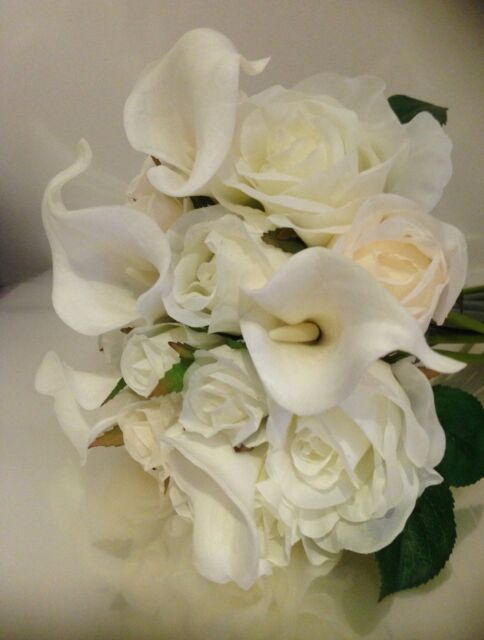 IVORY/WHITE & CALLA LILLY VINTAGE ROSE WEDDING BRIDE BOUQUET ARTIFICIAL FLOWER