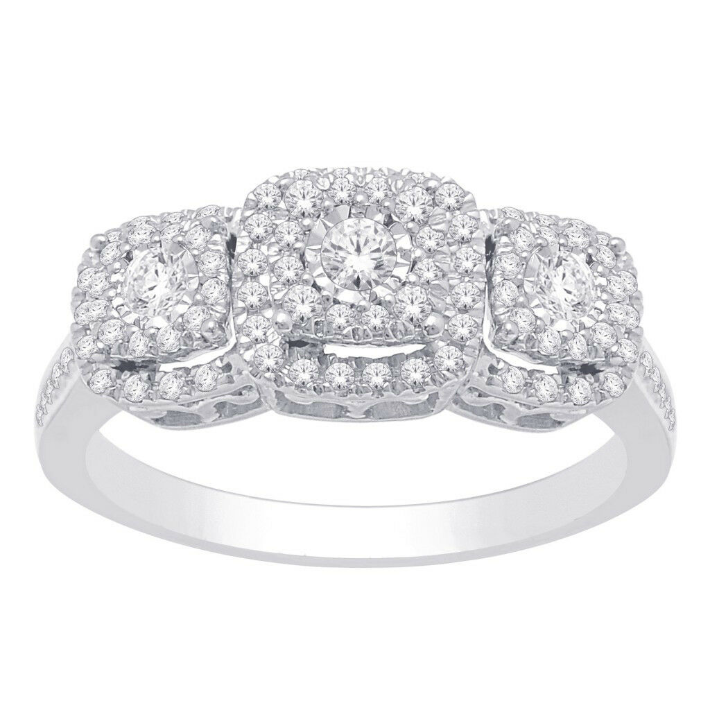 14K SOLID REAL WHITE gold 100% REAL Diamond Engagement Wedding Ring 1 2 CT