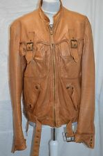Just Cavalli Tan Leather Biker-style Jacket size EU 52/UK 42