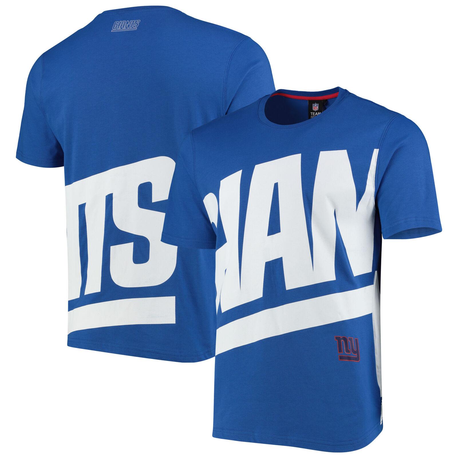 New York Giants Oversized Graphic Sleeve Top T-Shirt Shirt Tee Blue - Mens
