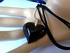 PENDANT LARGE BLACK HEART SILVER BALE /CHAIN & SILK CORD BY LALIQUE -STUNNING
