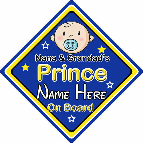 Personnalisé enfant//bébé à bord voiture signe ~ nana /& ébouillantent prince on board ~ bleu