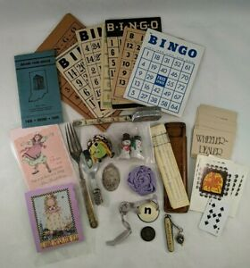 Junk-Drawer-Lot-of-Vintage-Ephemera-amp-Misc-Items-Bingo-Cards-Snowmen-Ornament