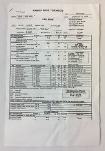 ONE TREE HILL set used CALL SHEET plus 6 pages of sides ~ Season 2, Episode 5