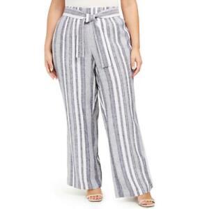 INC Womens Mid-Rise Striped Regular Fit Wide Leg Pants BHFO 1479