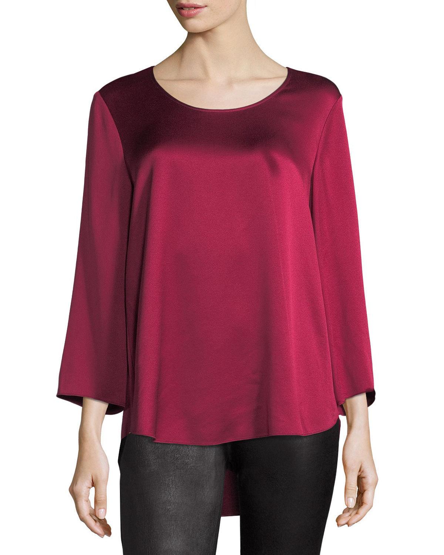 NEW Eileen Fisher 3 4-Sleeve Silk Satin Blouse in Hibiscus - Größe M  T579