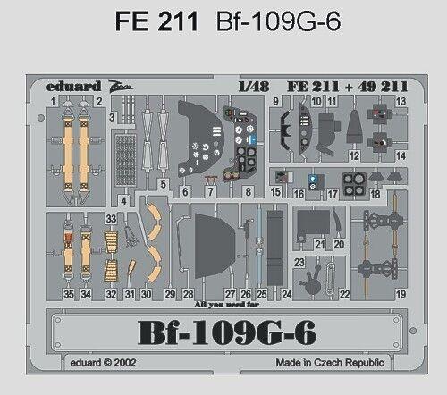 Eduard 1//48 Messerschmitt Bf 109G-6 etch for Hasegawa # FE211
