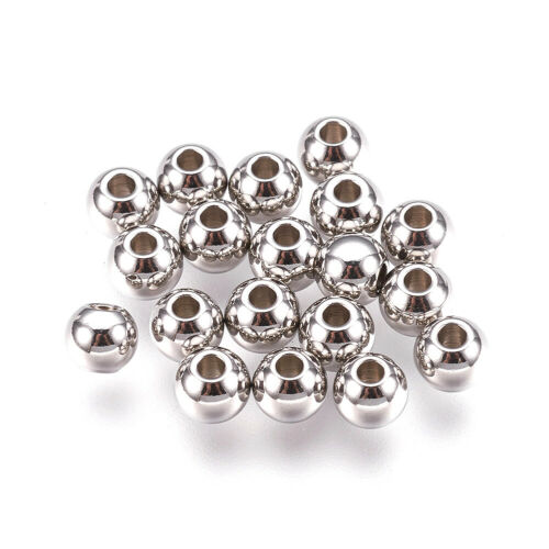 100pcs 304 Stainless Steel Beads Spacers 6mm Rondelle Loose Smooth Metal Beads