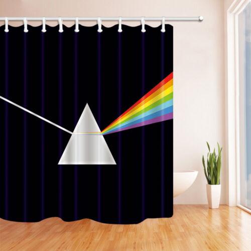 Dispersive Prism Rainbow Waterproof Fabric Shower Curtain Set Bathroom 71Inches