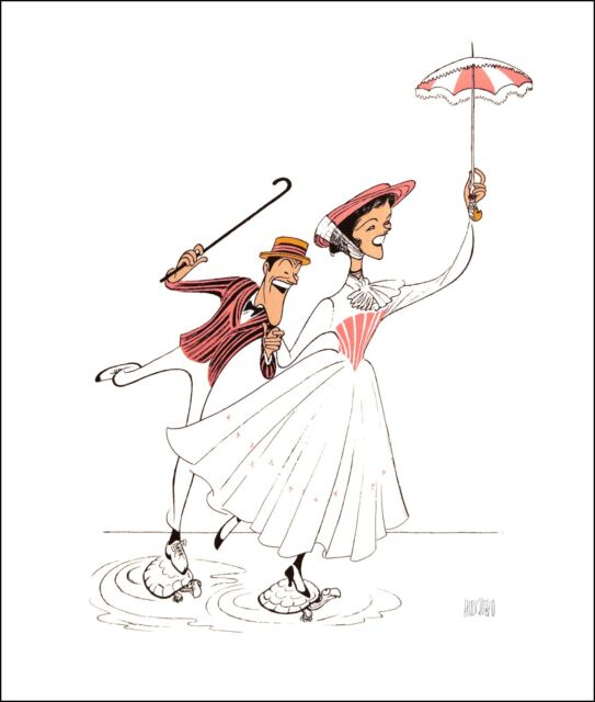 AL HIRSCHFELD Hand-Signed: MARY POPPINS