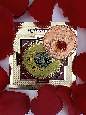 32,000 Mantra Energized Sri Kuber Money Drawing Coin Amulet Casino Business Cash