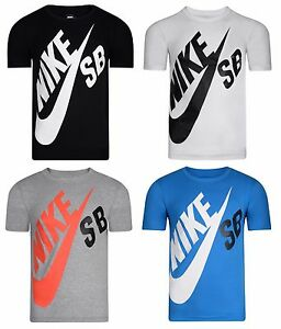 New Boys Junior Kids Nike SB Logo T-Shirt Top - Grey White Black ... 5a5797a8598