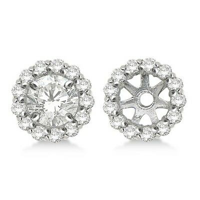 14K Yellow Gold SI2//G White Diamond Halo Solitaire Stud Bridal Earrings Jackets