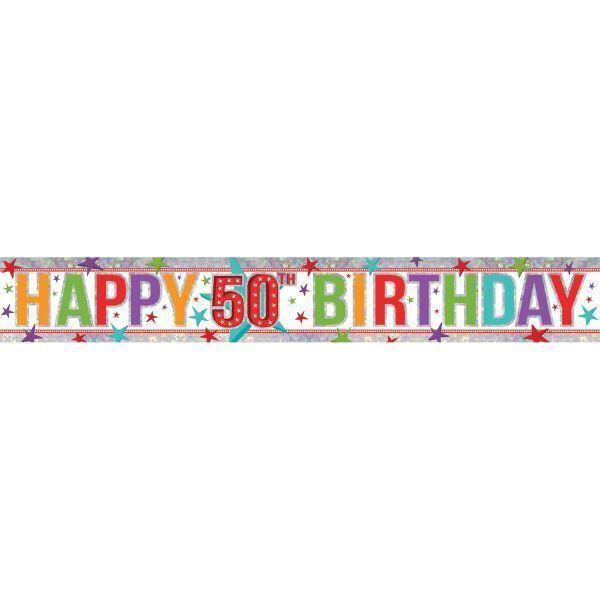 amscan 9900033 2 7 m happy 50th birthday holographic foil banner ebay
