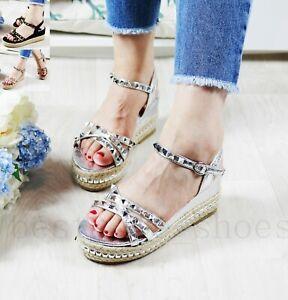 d5d8da29420 Details about New Womens Platform Sandals Studs Ankle Strap Wedges  Espadrille Summer Shoes