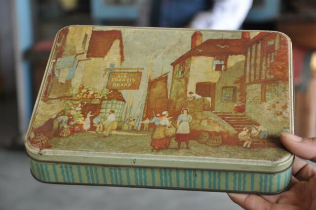 Vintage Rowell's Biscuits Ad Litho Tin Box , Collectible