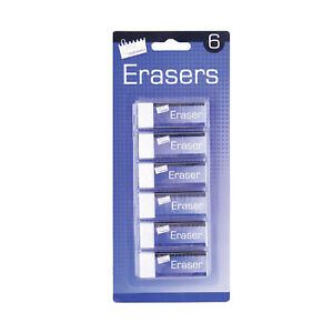 6-Quality-White-Soft-Erasers-Stationery-School-Office-Pencil-Paper-Rubber