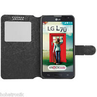 For Lg Optimus L70 Exceed 2 Black Bling Leather Magnet Strap Window Case Cover
