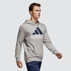 Mens-Adidas-Essential-Linear-Pullover-Grey-Hoodie-Sweatshirt-S98775-Sizes-M-XXL