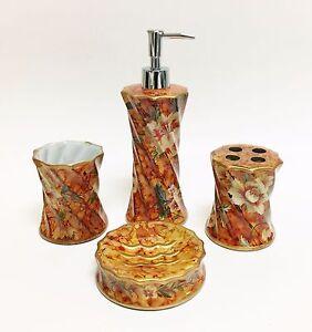 image is loading 4 pc set burnt orange brown floral swirl - Burnt Orange Bath Set