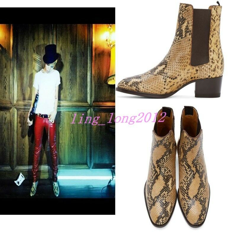Men SnakeSkin Pattern Leather Chelsea Ankle Boots Pointed Toe Vogue Dress shoes