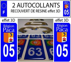2 Stickers Plaque Immatriculation Auto Tuning Doming 3d Resine Region Paca N° 05 Usines Et Mines
