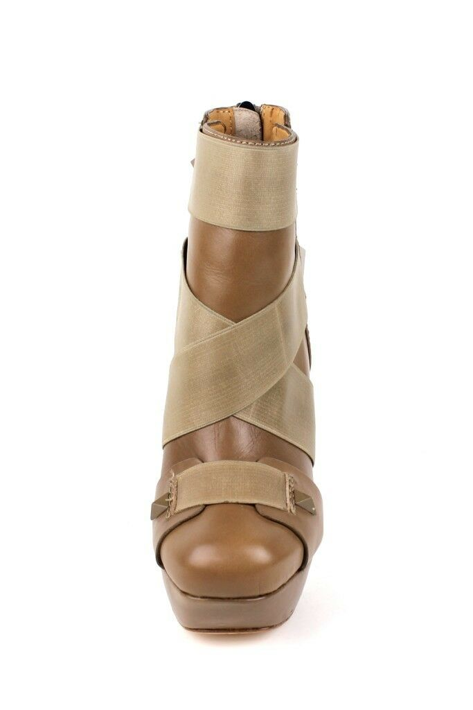 L.a.m.b. Bask Biege Cuero Bota plataforma Stiletto Zapatos de tacón alto con cremallera plataforma Bota Cordero Nuevo 798316