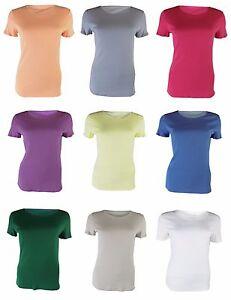 EX-m-amp-s-Mujer-Clasico-Camiseta-Top-Algodon-Manga-Corta-Cuello-Redondo