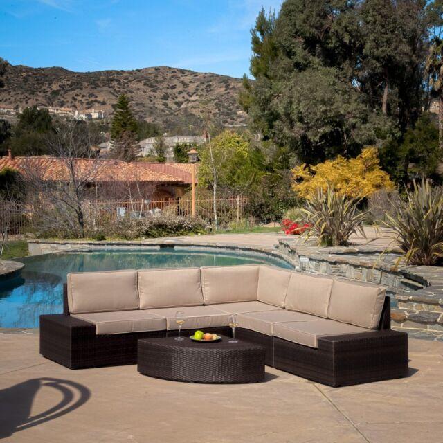 Santa Cruz Brown All Weather Wicker Patio Sectional Sofa Set