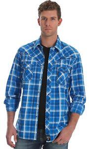 Wrangler-Rock-47-Men-039-s-Blue-Plaid-Long-Sleeve-Pearl-Snap-Shirt-MRC329M-NWT