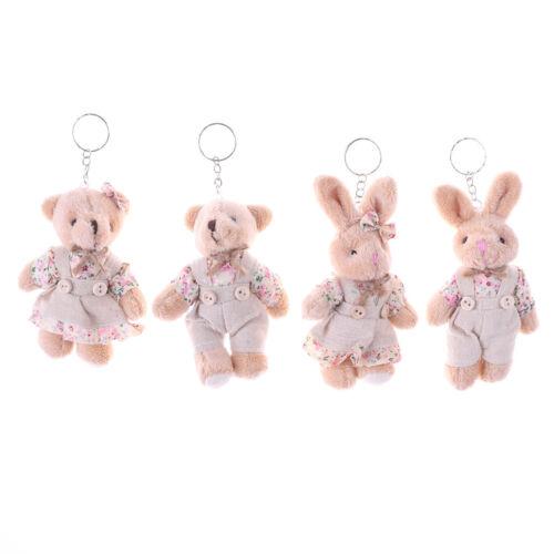 1 Pair Bear Rabbit Plush Toys Floral Cloth Rabbit Bunny Doll Key Pendants TK