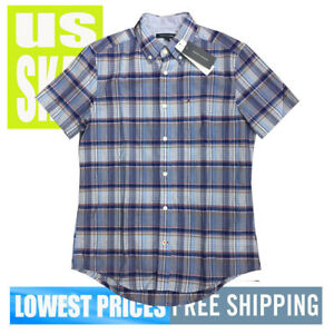 Tommy-Hilfiger-Men-039-s-NWT-Grey-Blue-Check-Button-Down-Short-Sleeve-Shirt-LARGE