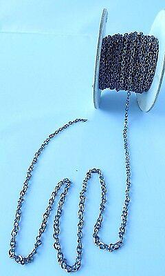 50 feet GUN METAL Black Flat CABLE Chain 2mm x 3mm Shiny Links~ Nickel//Lead Free