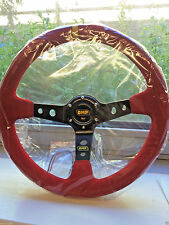 OMP 350mm Red Suede Leather Steering Wheel Deep Dish MOMO Race Drifting Rally