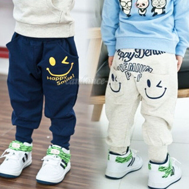 Casual Children Boys Vogue Cotton Letter Printed Gray Navy Blue Trousers Pants