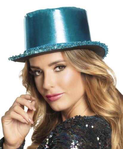 BLUE METALLIC SATIN FINISH WITH TRIM NOVELTY TOP HAT
