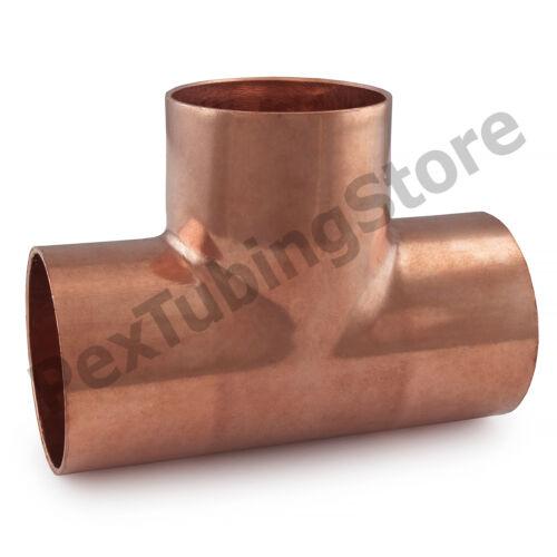 """5 2/"""" x 2/"""" x 1-1//2/"""" Copper Tees"""