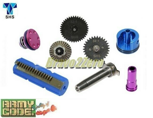SHS Infinite Torque Up 32 1 Gear Tune-Up Set for A-K Airsoft 15 Steel Half Teeth