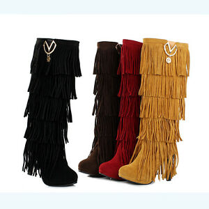 Womens Fringe Boots High Fashion Slouch High Heel Boot Hot Stylish ...