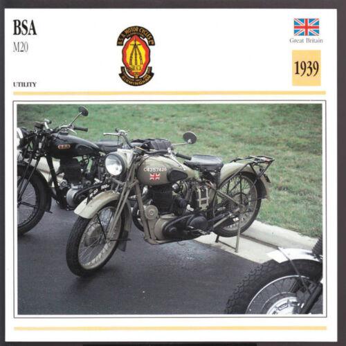 Army WW2 Motorcycle Photo Spec Sheet Info Card 1939 BSA M20 M-20 500cc 496cc